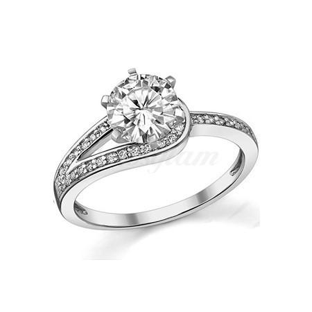 6fc2eecdff54 Золотое кольцо для предложения с муассанитом - M-494 - www.rosglam.ru