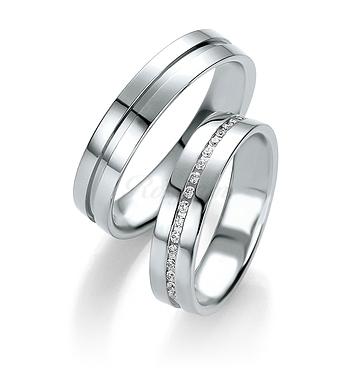 Парные обручальные кольца белое золото