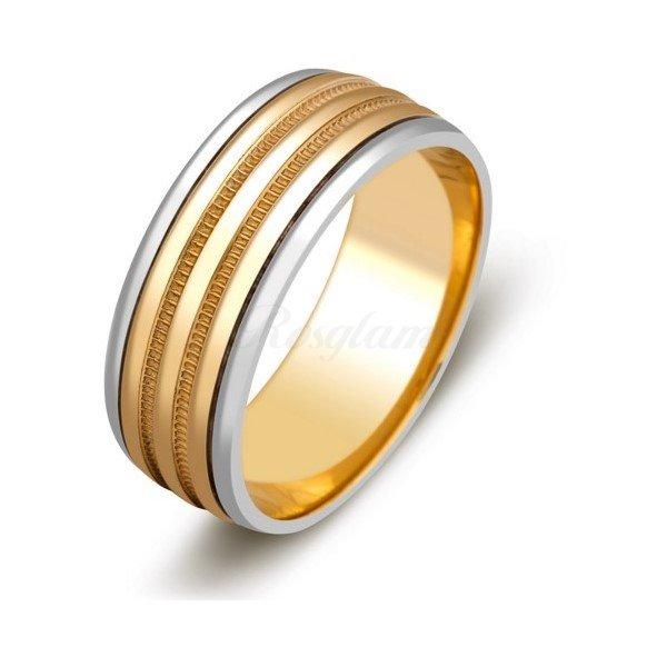 f7408f8a8b58 Эксклюзив - Обручальное кольцо из комбинированного золота - TTZ-591 -  www.rosglam.