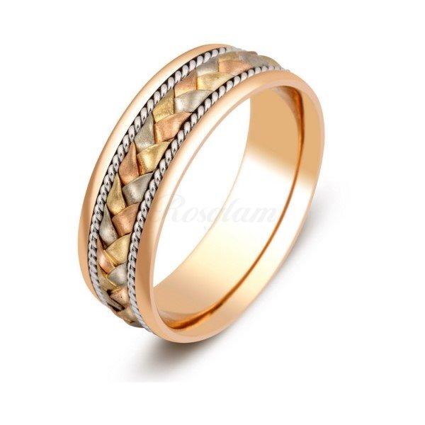 2e5189debe74 Эксклюзив - Обручальное кольцо из комбинированного золота - TTZ-345 -  www.rosglam.