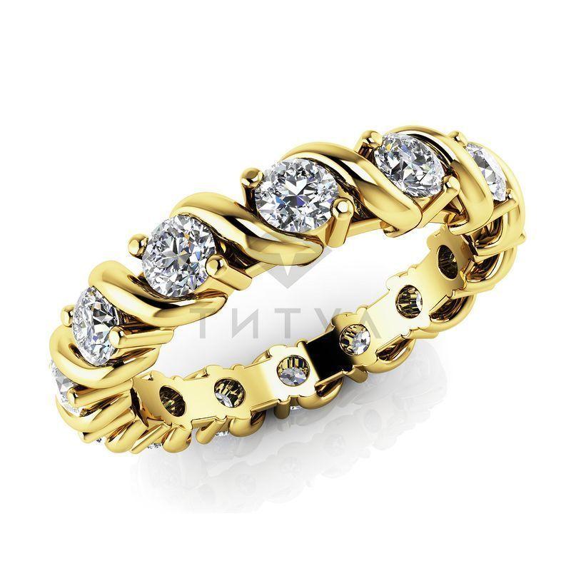 83fcf4272afa Обручальное кольцо из желтого золота с муассанитами по кругу - MUS1749 -  www.rosglam.